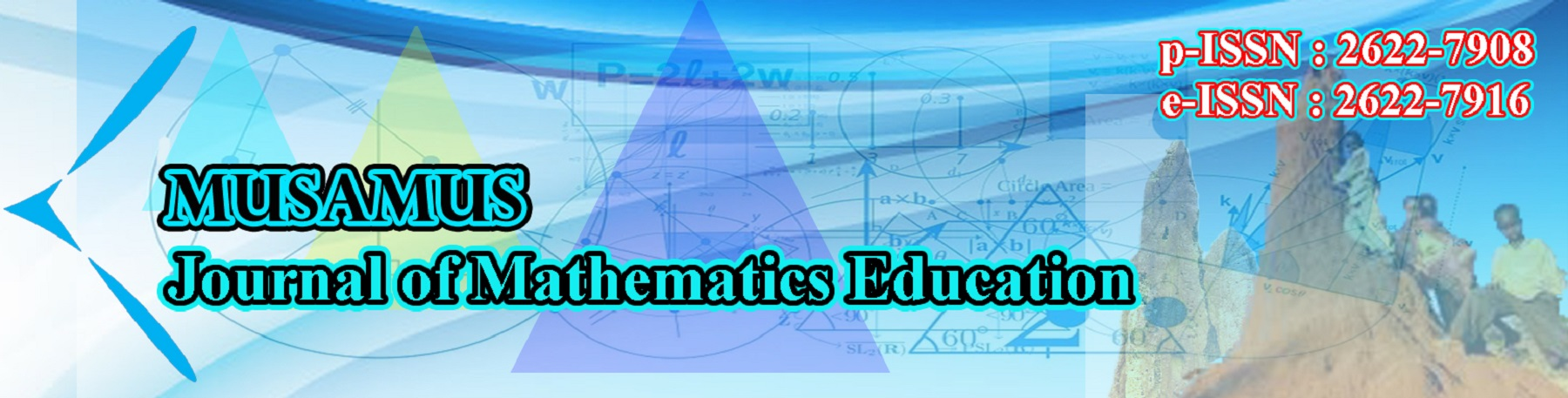 Welcome to the official website of Musamus Journal of Mathematics Education  Musamus Journal of Mathematics Education (MJME) is a peer-reviewed journal published by Faculty of Teacher Training and Education, Musamus University, Merauke Papua Indonesia. MJME is published twice a year (October and April) available in electronic and printed version. Hence, we are welcome submission paper in English and Indonesian language.